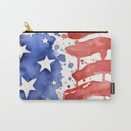 American Flag Watercolor Abstract Stars and Stripes Carry-All Pouch