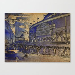 Harry Caray and Wrigley Field of yesterday Canvas Print