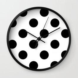 Large Polka Dots - Black on White Wall Clock