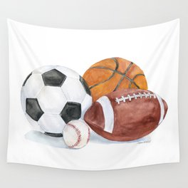 Sports Balls Watercolor Painting Wall Tapestry