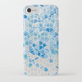 Cubes & Diamonds in Blue & Grey  iPhone Case