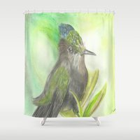 birdy Shower Curtains featuring Birdy by Equalsnine-art