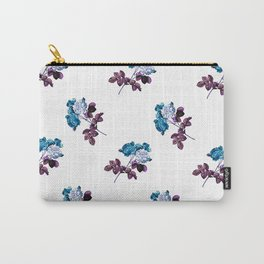 Vintage botanical floral watercolor spring roses -purple and blue pattern Carry-All Pouch