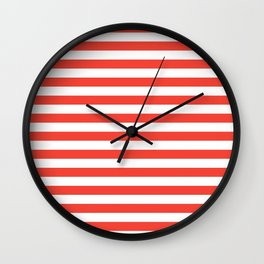 Even Horizontal Stripes, Red and White, M Wall Clock
