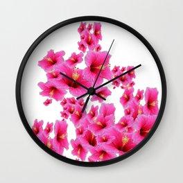 MODERN ART TROPICAL FUCHSIA HIBISCUS  FLOWERS Wall Clock