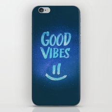 Good Vibes - Funny Smiley Statement / Happy Face (Blue Stars Edit) iPhone Skin