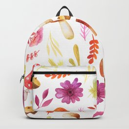 Magenta yellow hand painted watercolor Autumn floral Backpack