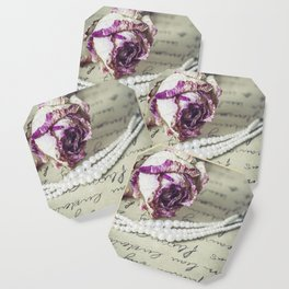 love letter with pearls and rose Coaster
