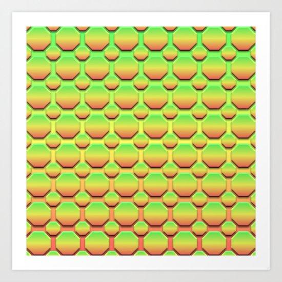 Octagons - Tricolor Art Print