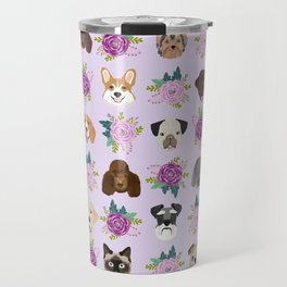 Dogs and cats pet friendly floral animal lover gifts dog breeds cat person Travel Mug