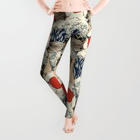 wave Leggings featuring The Great Wave Of Koi by Huebucket