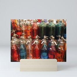 Red, Blue and Green Antique Soda Bottles, San Telmo, Buenos Aires Mini Art Print