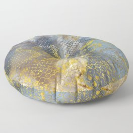 Faux gold snake skin texture on  marble Floor Pillow