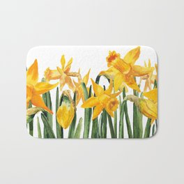 watercolor yellow narcissus Bath Mat