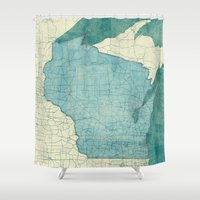 wisconsin Shower Curtains featuring Wisconsin State Map Blue Vintage by City Art Posters