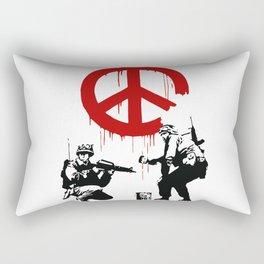 Soldiers Painting Peace Symbol, Banksy, Streetart Street Art, Grafitti, Artwork, Design For Men, Wom Rectangular Pillow