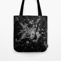 montreal Tote Bags featuring montreal map by Line Line Lines