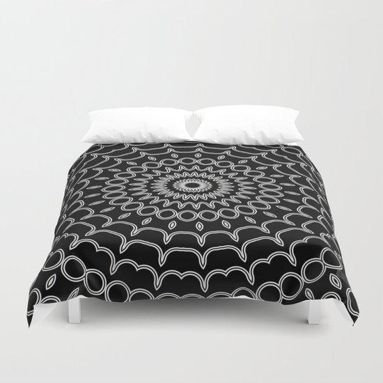 Mandala Fractal in Black and White Duvet Cover