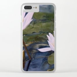 Watercolor Flower Water Lily Landscape Nature Clear iPhone Case