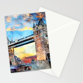 tower-bridge-thames-river-historic Stationery Cards