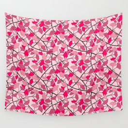 Ginkgo Leaves in Vibrant Hot Pink Tones Wall Tapestry
