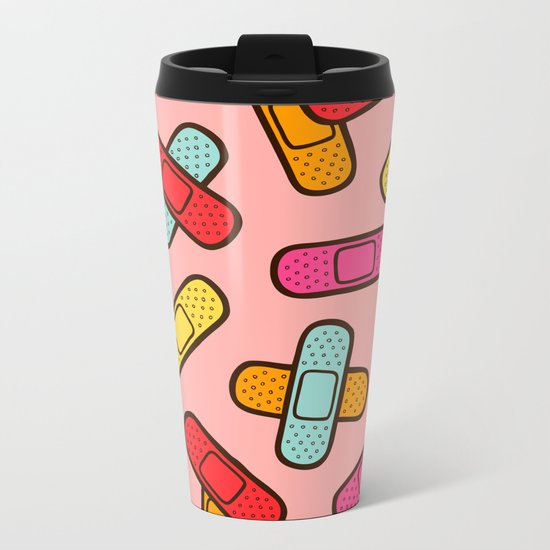 Rainbow Band-Aids Metal Travel Mug