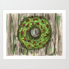 Barn Door Wreath Art Print