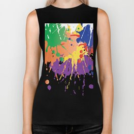 Colourful Paint splash Biker Tank