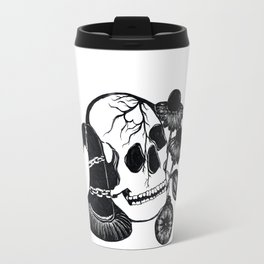 Skull with hat, flowers and clock Travel Mug