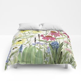 Flowers on White Painting  Comforters