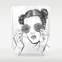 lemon Shower Curtains featuring Lemon by Cannibal Malabar