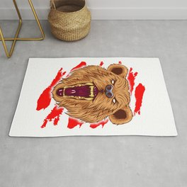 Angry Roaring Bear Design for Wild Animal and Bear Lover Rug