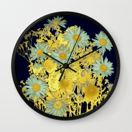 blue daisies and gold Wall Clock