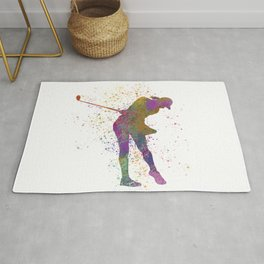 Female golf player competing in watercolor 01 Rug