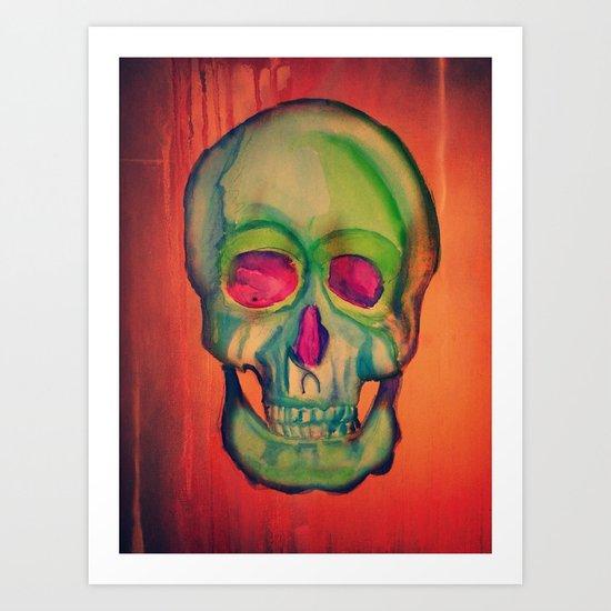 Watercolor skull/Green Art Print