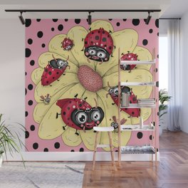 some quirky ladybugs and a couple of cute bees, pink coral yellow red black white Wall Mural