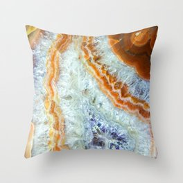 Crystalized Purple & Clear Quartz Slab with Orange Rust Throw Pillow