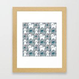 Bichon Frise dog pattern Framed Art Print