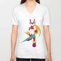 megaman V-neck T-shirts featuring Megaman Zero by JHTY