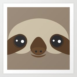 funny and cute smiling Three-toed sloth on brown background Art Print