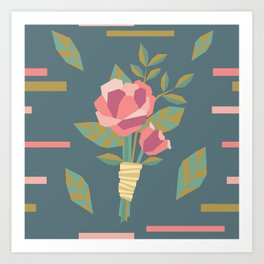 Geometric Wedding Rose Floral Boutonniere Art Print