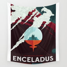 NASA Visions of the Future - Beautiful Southern Enceladus Wall Tapestry