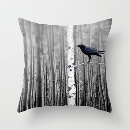 Black Bird Crow Tree Birch Forrest Black White Country Art A135 Throw Pillow