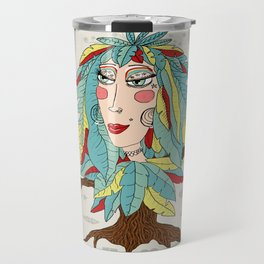 quirky bohemian boho tree, leaves and feather fantasy woman / girl Travel Mug