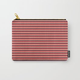 Red, Beige, Dark Red, and Slate Gray Colored Striped Pattern Carry-All Pouch