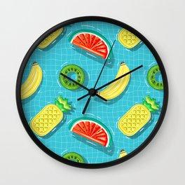 Pool Party pineapple, watermelon,banana,kiwi Wall Clock