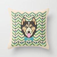 husky Throw Pillows featuring Husky by AllisStudio