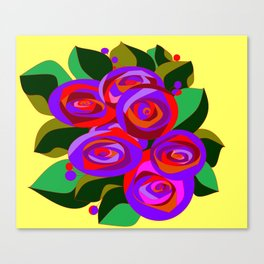 A Bouquet of Big Flowers with Yellow Background and Purple Tones Canvas Print