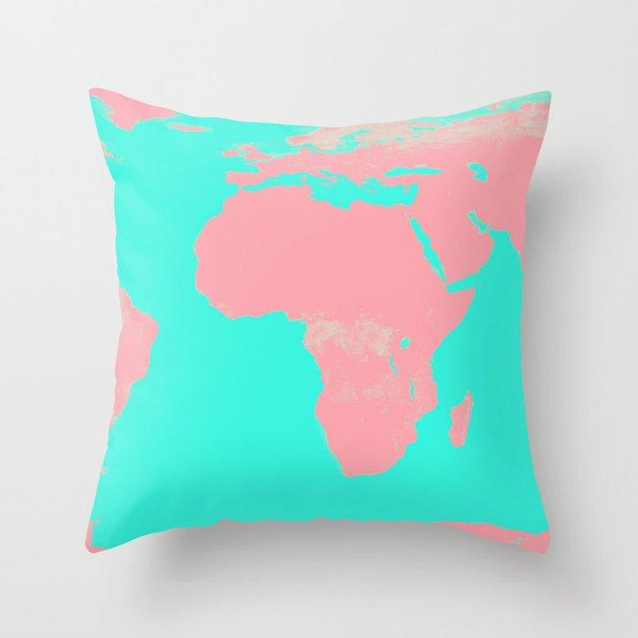 Undistorted World Map Pink Aqua Throw Pillow by vintageby2sweet
