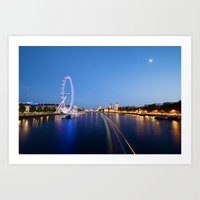 Night Time on the River Thames Art Print